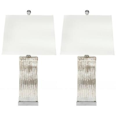 Rock 27 in. Crystal Cylinder Table Lamp with White Shade (Set of 2)