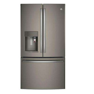 Profile 36 in. W 27.8 cu. ft. Smart French Door Refrigerator with Keurig in Slate, ENERGY STAR, Fingerprint Resistant