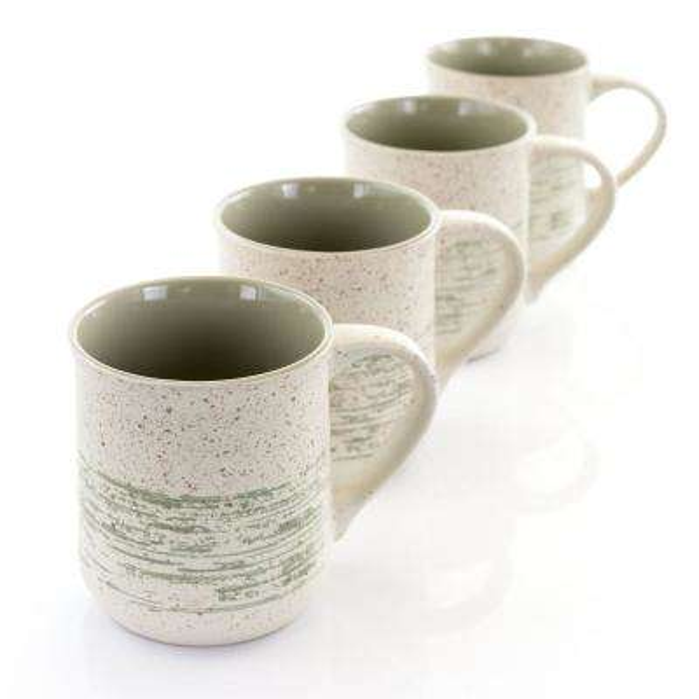 20.9 oz. Green and White Stoneware Mug (Set of 4)
