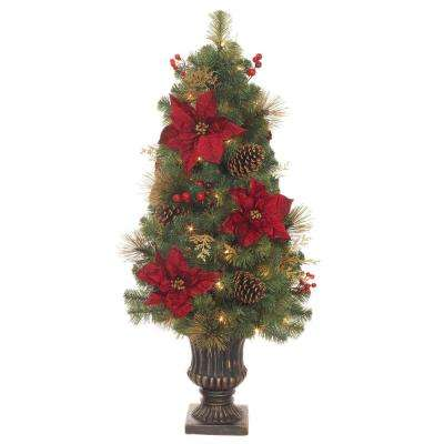 4 ft. Pre-Lit LED Gold Glitter Cedar and Mixed Pine Porch Tree with Burgundy Poinsettias