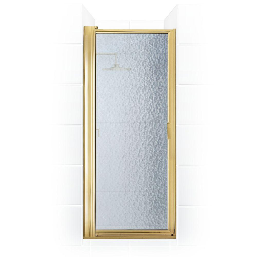 Coastal Shower Doors Paragon Series 26 in. x 65.5 in. Framed Maximum Adjustment Pivot Shower Door in Gold with Aquatex Glass