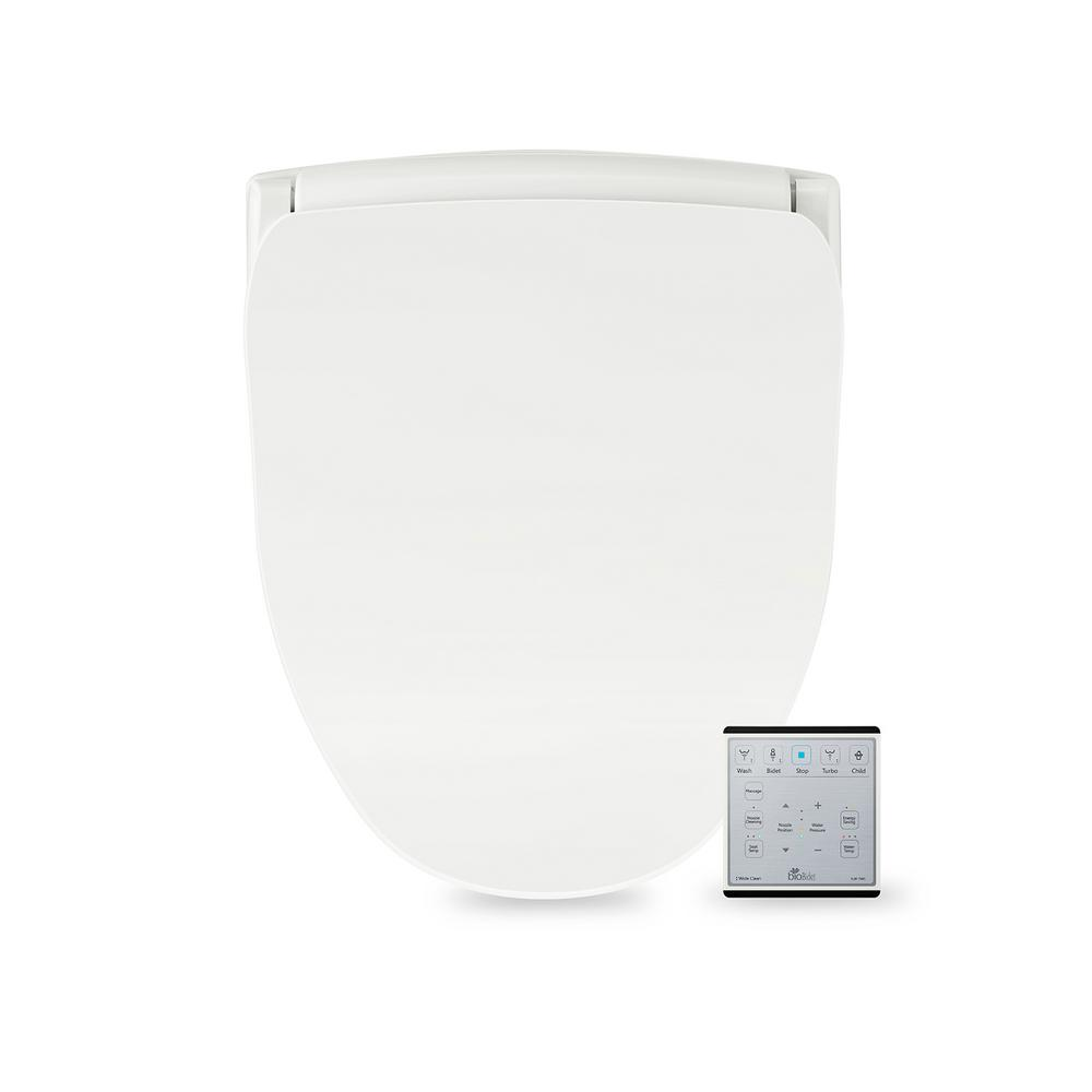 Biobidet Slim Series Electric Smart Bidet Toilet Seat For Elongated Toilets In White With Remote Control And Nightlight Slim Two The Home Depot