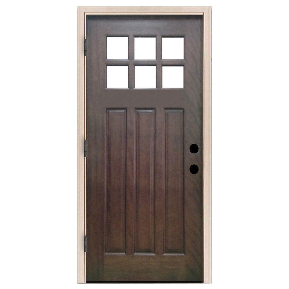 Steves & Sons 36 in. x 80 in. Craftsman 6 Lite Stained Mahogany Wood ...