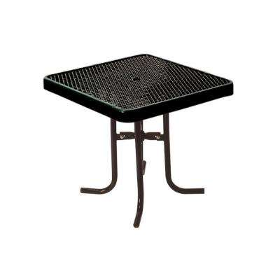 36 in. Diamond Black Commercial Park Square Low Food Court Portable Table