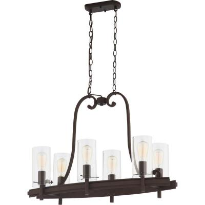 Regina 6-Light Antique Bronze Indoor Hanging Linear Island Chandelier with Clear Glass Cylinder Shades