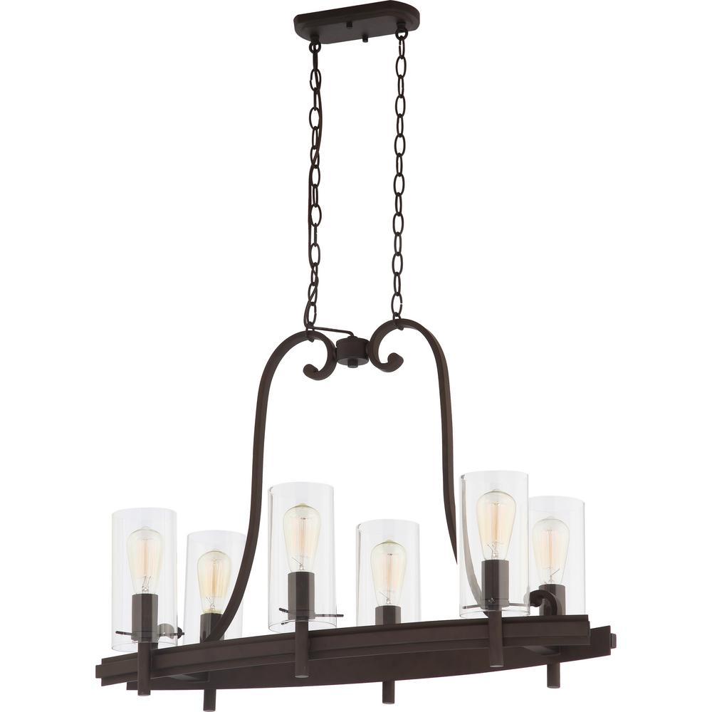 Regina 6-Light Antique Bronze Indoor Hanging Linear Island Chandelier with Clear Glass Cylinder Shades