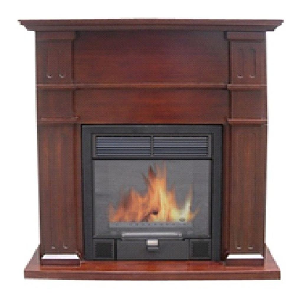 Quality Craft 32 in. Vent-Free Ethanol Fireplace in Golden Oak-DISCONTINUED