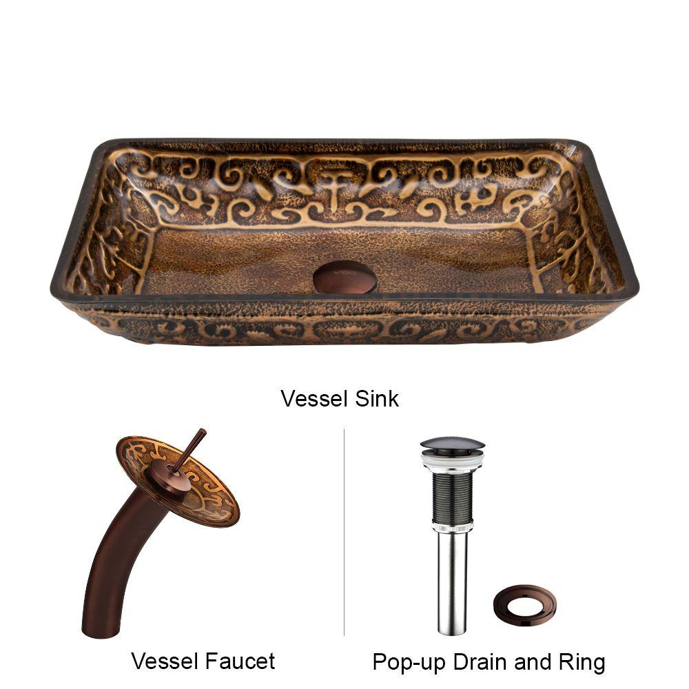 Rectangular Glass Vessel Sink In Golden Greek With Waterfall Faucet Set Oil Rubbed Bronze