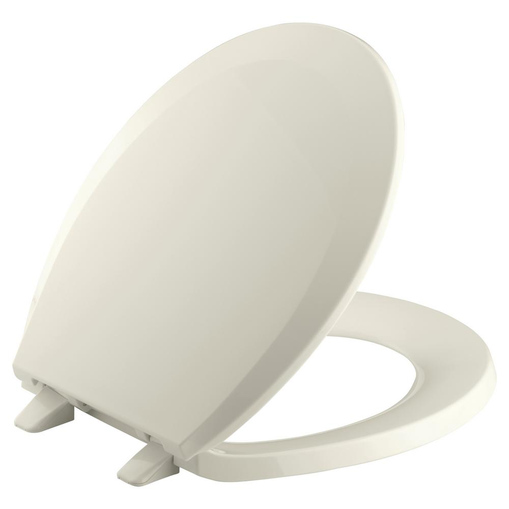 KOHLER Lustra Round Closed-Front Toilet Seat with Quick-Release Hinges in Biscuit