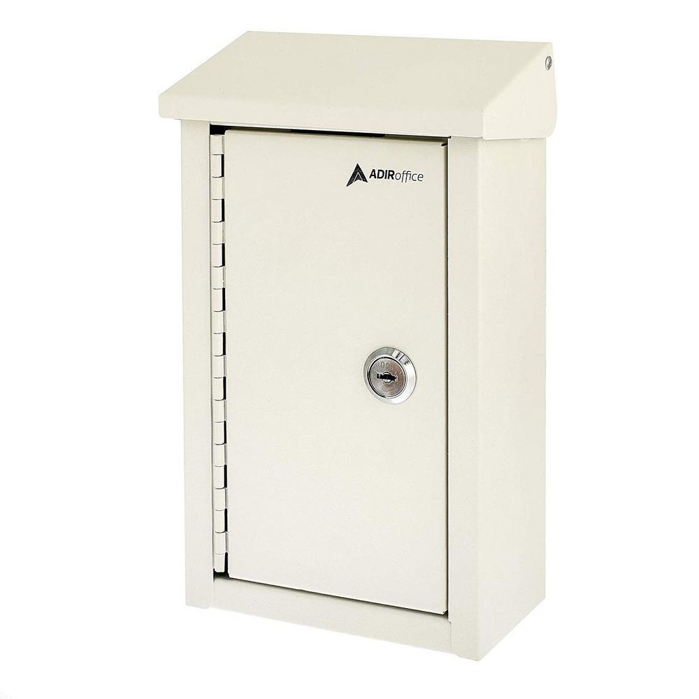 AdirOffice Heavy-Duty Steel White Outdoor Large Key Drop Box