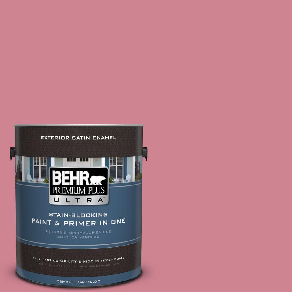 BEHR Premium Plus Ultra 1-gal. #130D-4 Rose Sachet Satin Enamel Exterior Paint