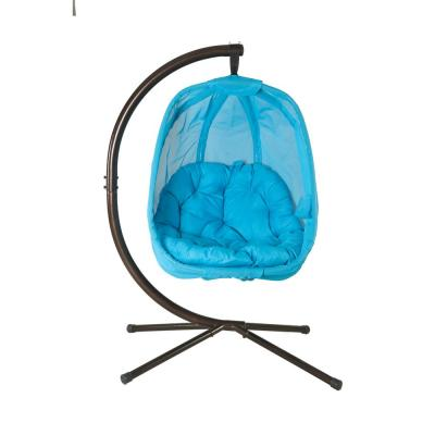 5.5 ft. Mesh Free-Standing Hanging Hammock with Stand in Light Blue