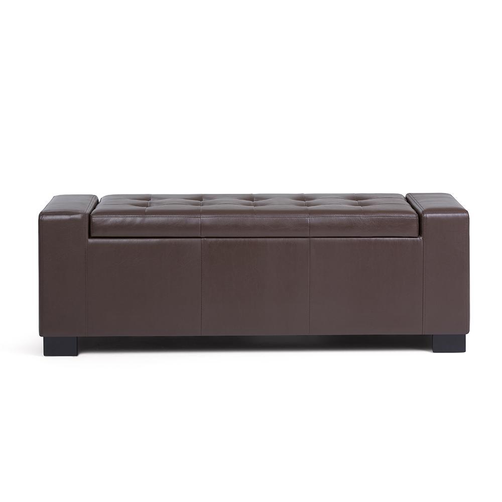Laredo Chocolate Brown Large Storage Ottoman Bench