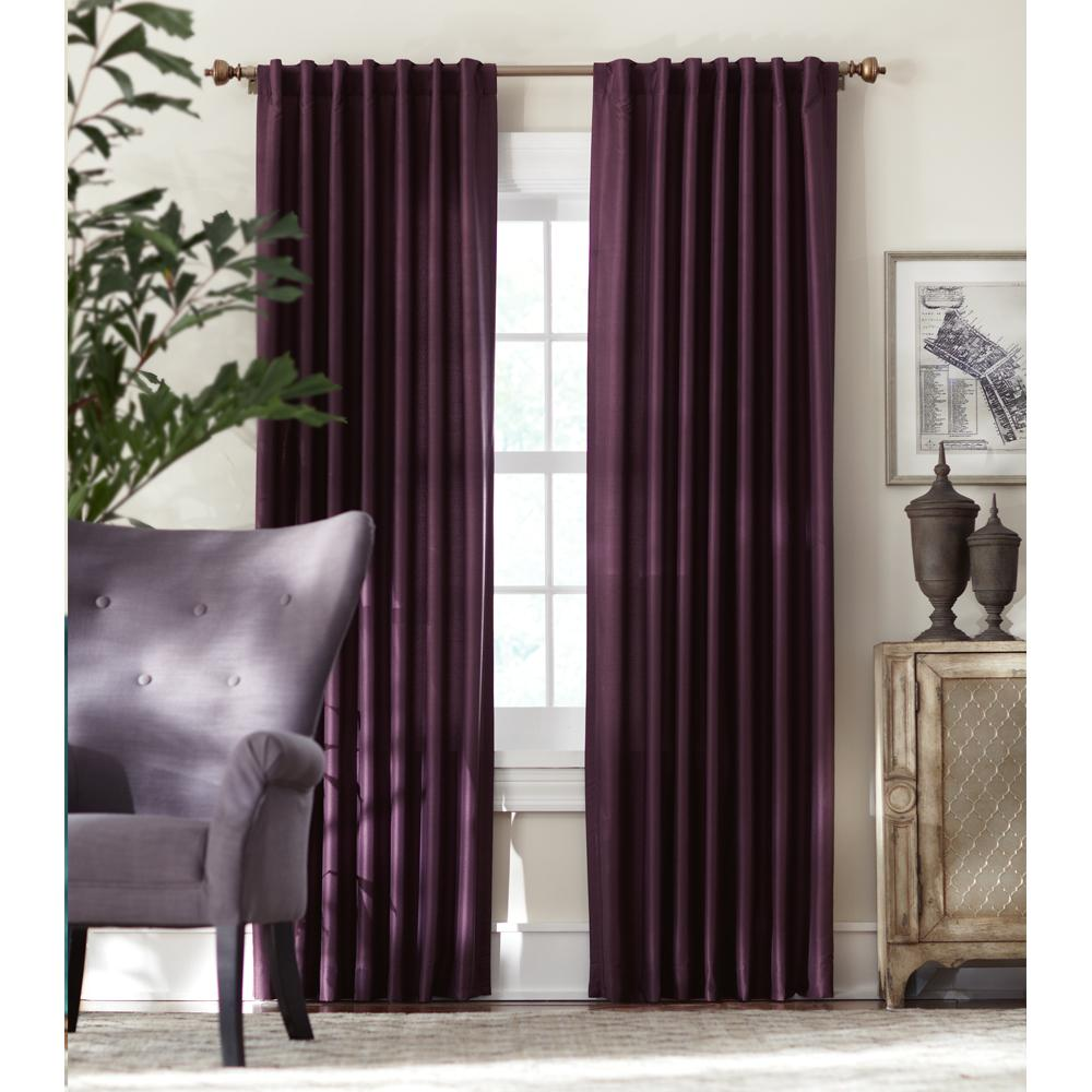 Home Decorators Collection Slub Faux Silk Light Filtering Window Panel in Plum - 54 in. W x 108 in. L