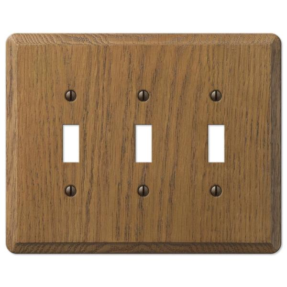 Contemporary 3 Gang Toggle Wood Wall Plate - Medium Oak