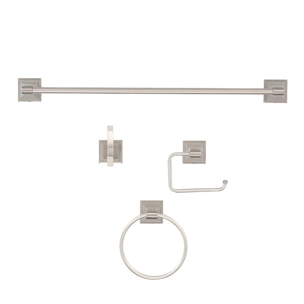 ARISTA Leonard Collection 4-Piece Bathroom Hardware Kit in Satin Nickel