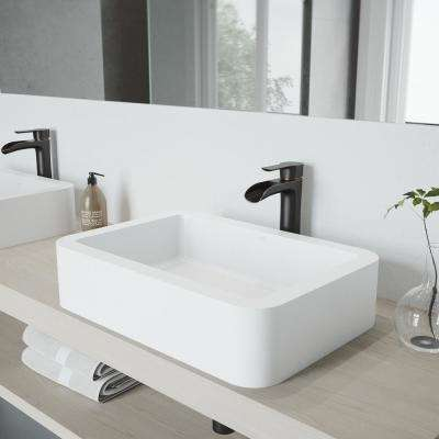 Petunia Matte Stone Vessel Sink and Antique Rubbed Bronze Niko Faucet Set with Pop-up Drain in Matte White