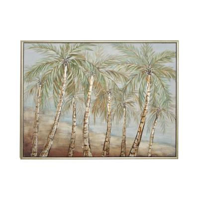 """Litton Lane """"Coconut Trees by the Beach""""Hand Painted Framed Canvas Wall Art, Matte Multi-Colored"""