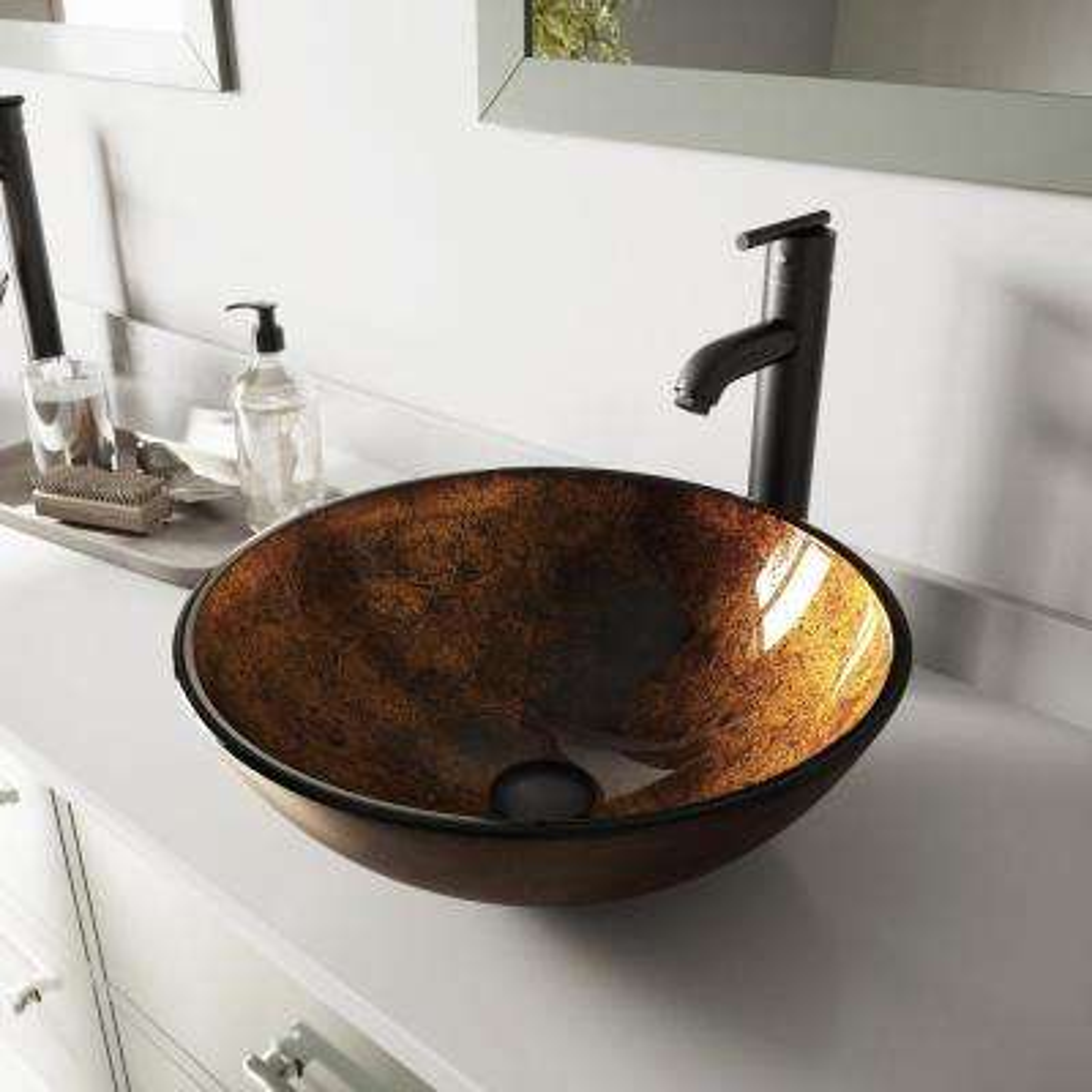 Glass Vessel Bathroom Sink in Russet and Seville Faucet Set in Matte Black