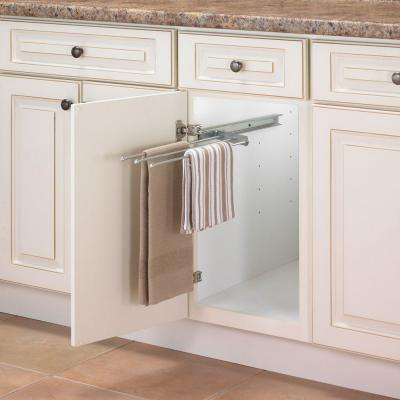 1 in. H x 5 in. W 18 in. D Pull Out 3-Arm Pull-Out Towel Bar Cabinet Organizer in Silver