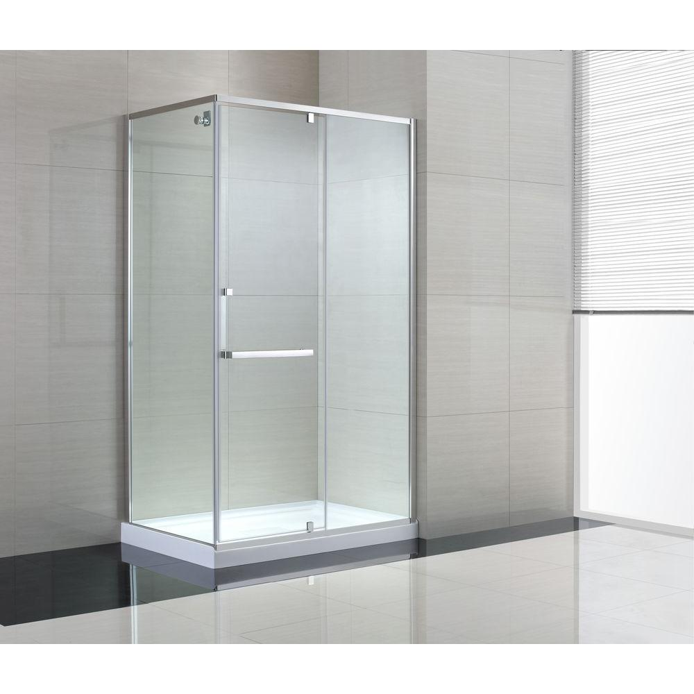 Semi-Framed Corner Shower Enclosure with Pivot Shower Door in Chrome and Clear Glass-SC70020 - The Home Depot