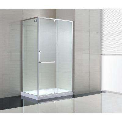 Brooklyn 48 in. x 79 in. Semi-Framed Corner Shower Enclosure with Pivot Shower Door in Chrome and Clear Glass