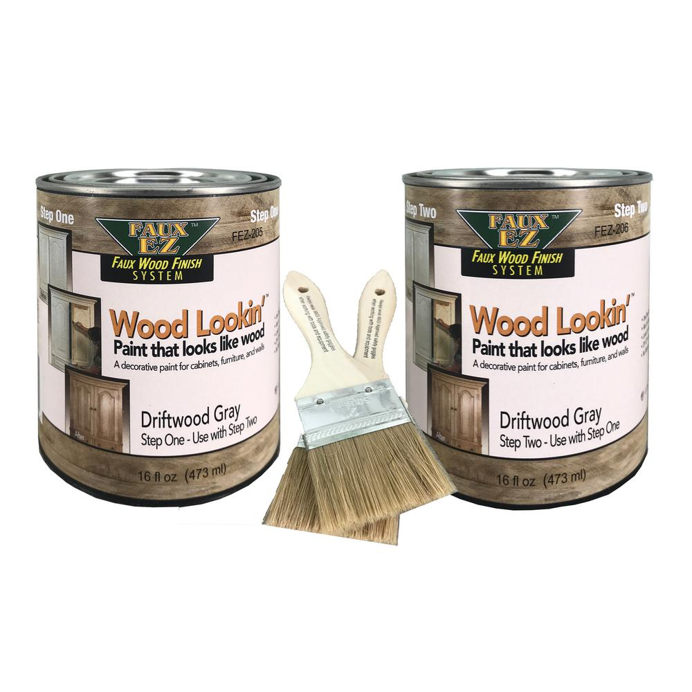 Wood Lookin 2 Pint Driftwood Gray Small Specialty Paint Kit Fez 201 Small Kit The Home Depot