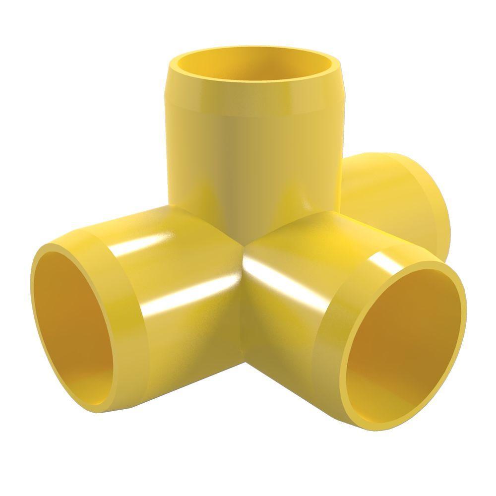 1-1/4 in. Furniture Grade PVC 4-Way Tee in Yellow (4-Pack)