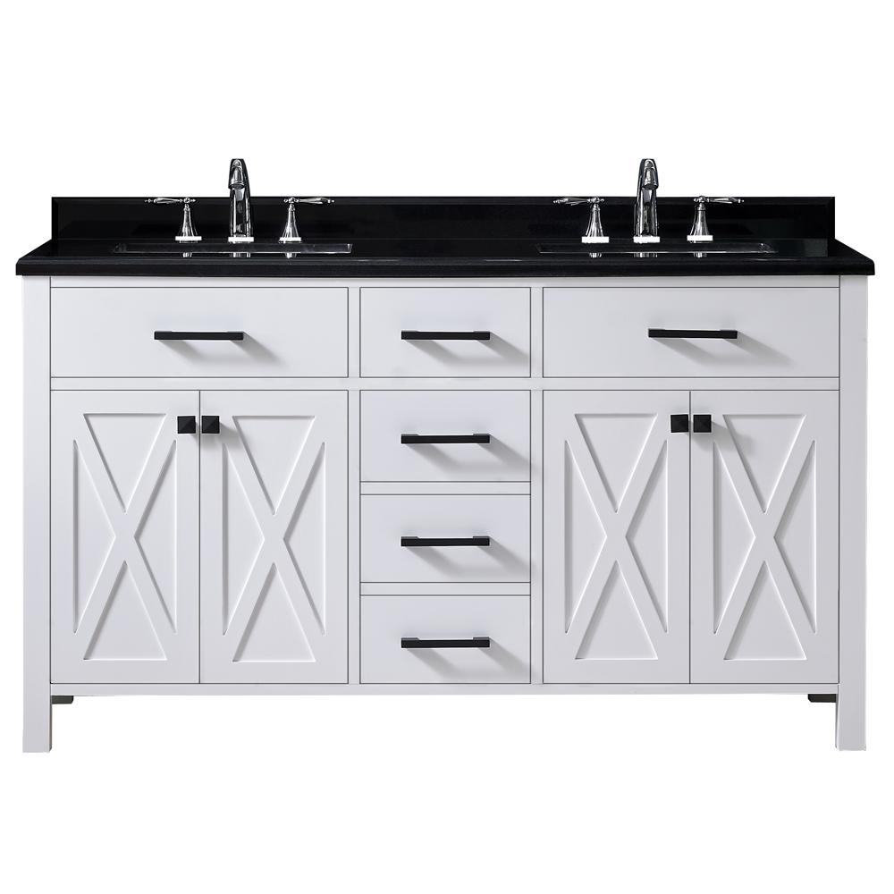 Ove Decors Vanity White Granite Vanity Top Black White Basin