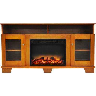 Savona 59 in. Electric Fireplace in Teak with Entertainment Stand and Enhanced Log Display