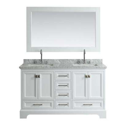 Omega 61 in. W x 22 in. D Vanity in White with Marble Vanity Top in White with White Basin and Mirror