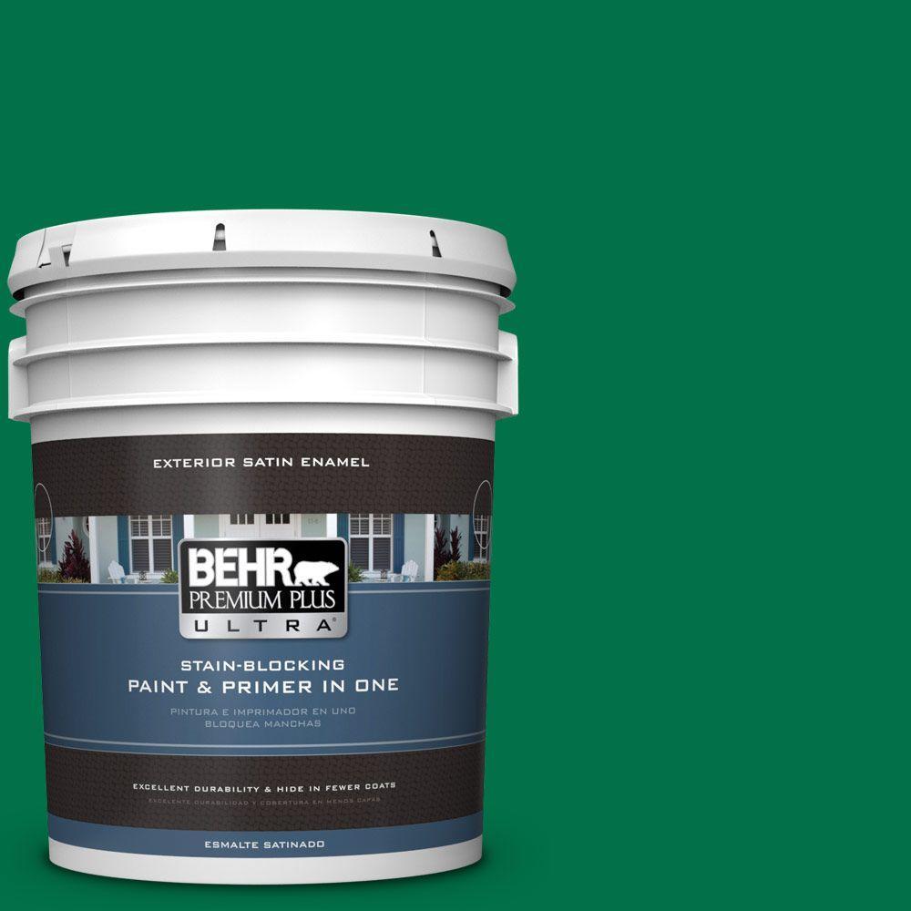 BEHR Premium Plus Ultra 5-gal. #470B-7 Climbing Ivy Satin Enamel Exterior Paint