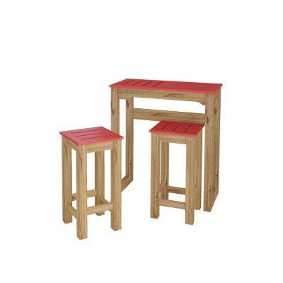 Stillwell 31.5 in. 3-Piece Red and Natural Wood Bar Kitchen Set
