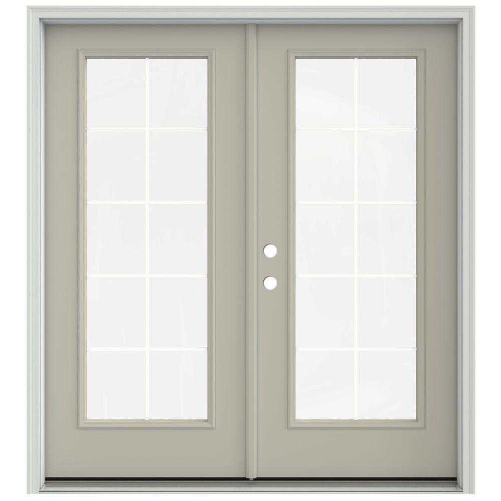 Jeld Wen 72 In X 80 In Desert Sand Prehung Right Hand Inswing 10 Lite French Patio Door With