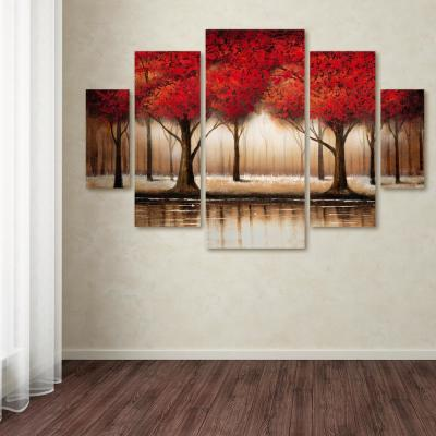 "40 in. x 58 in. ""Parade of Red Trees"" by Rio Printed Canvas Wall Art"