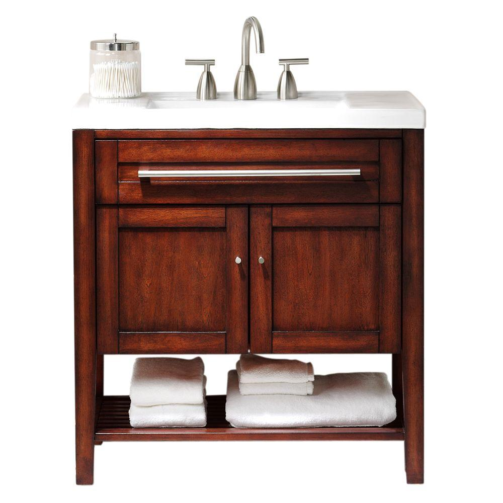 Home Decorators Collection Hazelton 32 in. W x 18 in. D Vanity in Rubbed Chestnut