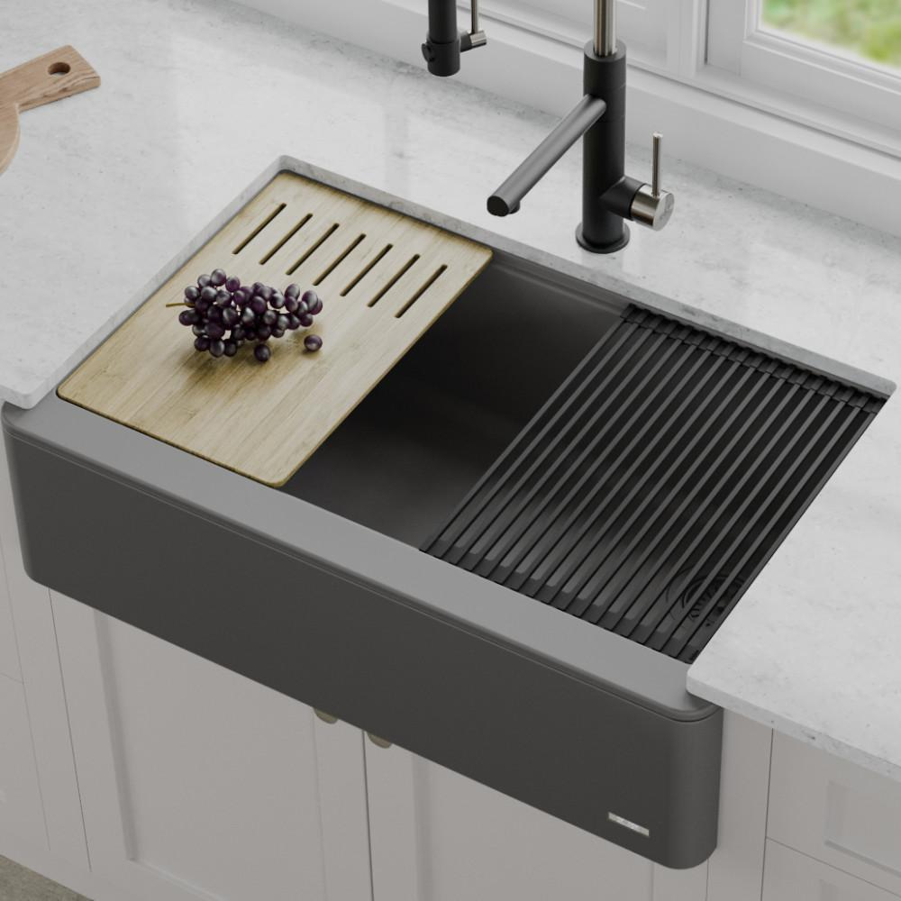 KRAUS 33 in. CeramTek Granite/Quartz Composite Farmhouse Apron Front Single  Bowl Kitchen Sink with Cutting Board Charcoal