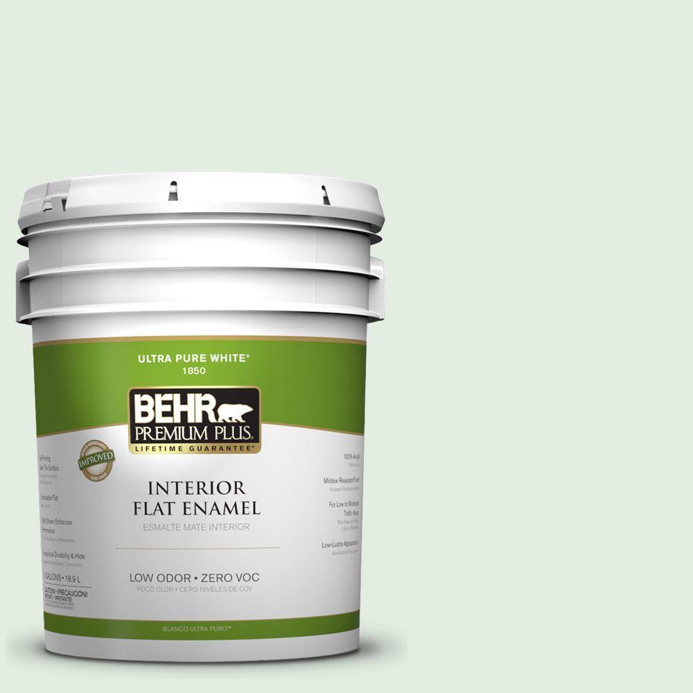 BEHR Premium Plus 5-gal. #460C-2 Spearmint Stick Zero VOC Flat Enamel Interior Paint-DISCONTINUED