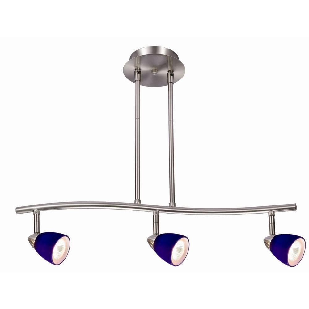 Design House Gibson 3-Light Satin Nickel Rail Lighting with Blue Glass Shades