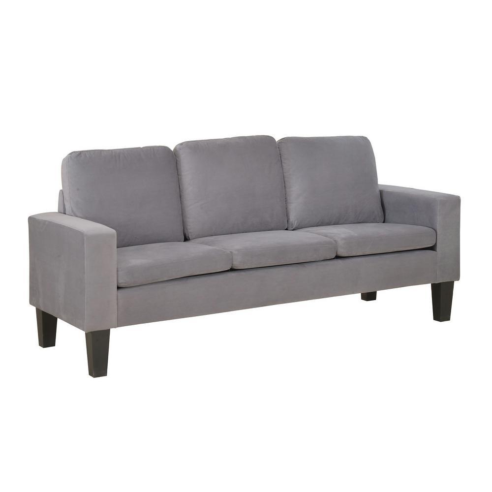 Undefined Sarah Gray Microfiber Sofa