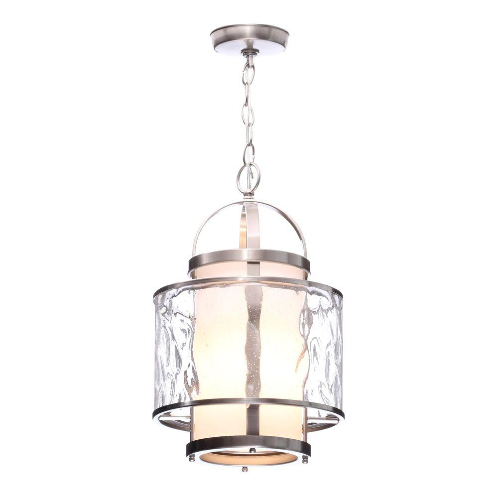 Progress Lighting Bay Court Collection 1 Light Brushed Nickel Foyer Pendant With Etched Opal Glass
