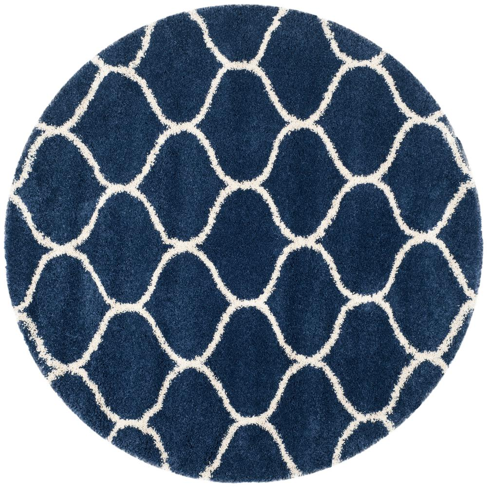 safavieh hudson shag navy ivory 9 ft x 9 ft round area rug sgh280c 9r the home depot. Black Bedroom Furniture Sets. Home Design Ideas