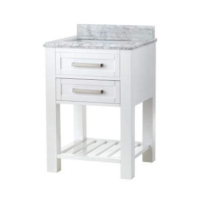 Paige 24 in. W x 22 in. D Bath Vanity in White with Marble Vanity Top in Carrara White