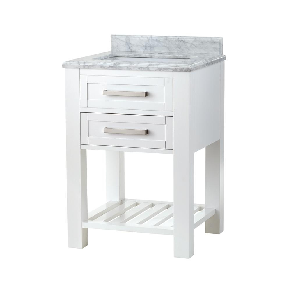 Home Decorators Collection Paige 24 in. W x 22 in. D Bath Vanity in White with Marble Vanity Top in Carrara White
