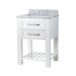 Home Decorators Collection Paige 24 inch W x 22 inch D Bath Vanity in White with Marble... by Home Decorators Collection