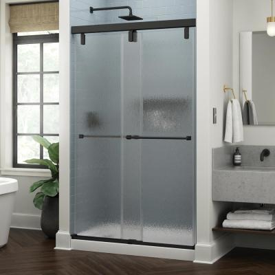 Everly 48 in. x 71-1/2 in. Mod Semi-Frameless Sliding Shower Door in Matte Black and 3/8 in. (10mm) Rain Glass