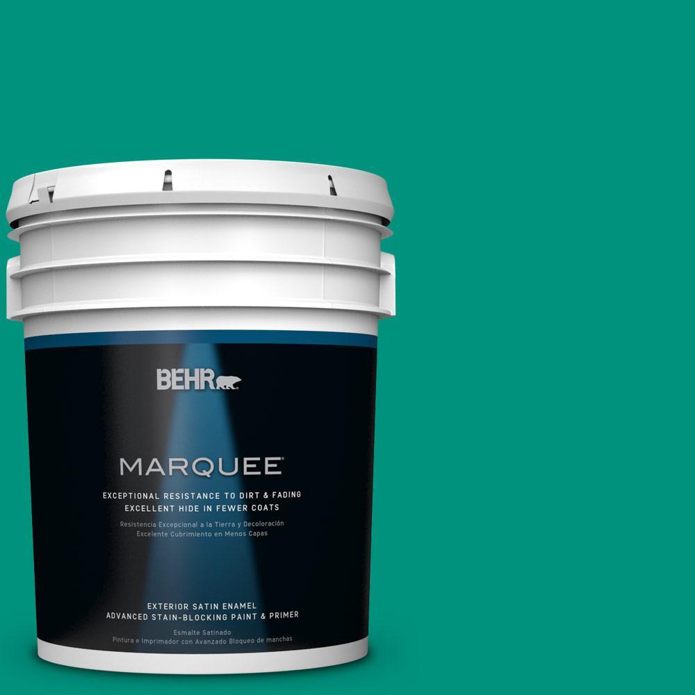 BEHR MARQUEE 5-gal. #S-G-480 Aqua Waters Satin Enamel Exterior Paint