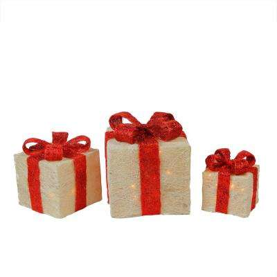 11.75 in. Christmas Outdoor Decorations Lighted Sparkling White Sisal Gift Boxes (3-Pack)