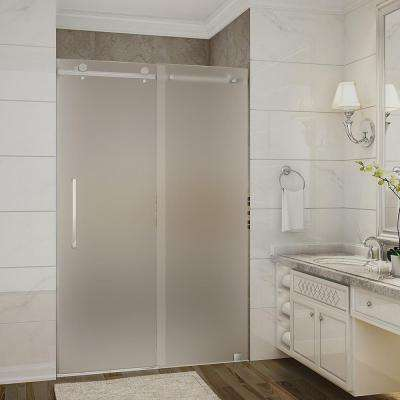 Moselle 44 in. to 48 in. x 75 in. Completely Frameless Sliding Shower Door with Frosted Glass in Brushed Stainless Steel
