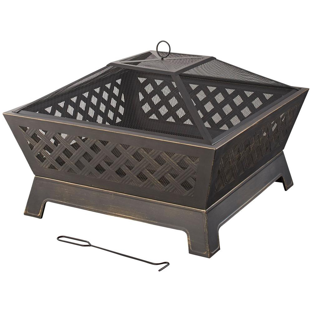 Hampton Bay Tipton 34 In Steel Deep Bowl Fire Pit In Oil